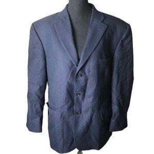 Haggar Black Label 3 Button Blazer Navy Blue 44S